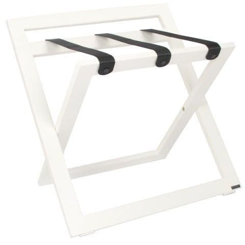 Compact Wooden Luggage Rack with Backstand and Nylon Straps, White